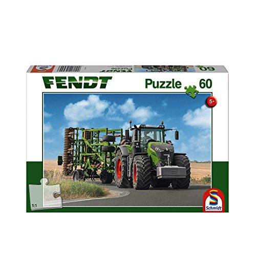 Schmidt Spiele 56255 Fendt 1050 Vario mit Amazone Grubber Cenius, 60 Teile Kinderpuzzle, Weiss