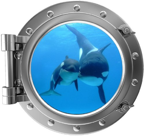 12' Porthole 3D Window Wall Decal Killer Whale & Cub Silver Port Scape Orca Baby Whale Ocean Sea Animal Wall Art Peel and Stick Kids Room Decor