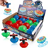 Liberty Imports 12-Pack LED Light Up Flashing UFO Spinning Tops with Gyroscope Novelty Bulk Toys Party Favors Birthday Supplies