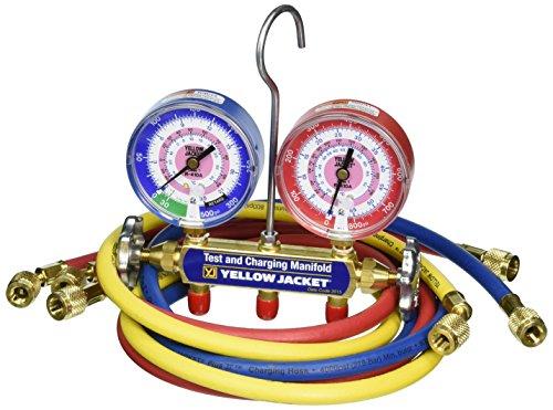 """Yellow Jacket Collecteurs série 41 42024 avec jauge 3-1/8"""", raccords standard, bar/psi, R-410A."""