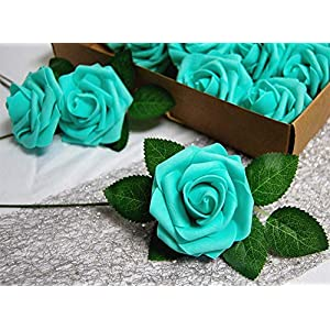 Evershine Artificial Rose Flower Realistic Foam Rose with Stem for DIY Wedding Bouquets Party Decoration