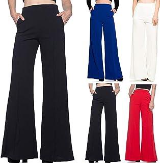 comprar comparacion Pantalones Cortos Cargo Mujer,Mujer Alta La Cintura La Moda Sólido Suelto Ancho Largo Los Pantalones Que Fluye Palazzo Pan...
