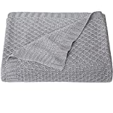 NTBAY Natural Bamboo Cable Knit Baby Blanket, Soft and Cooling Touch Toddler Blanket, 30 x 40 Inches, Sliver Grey
