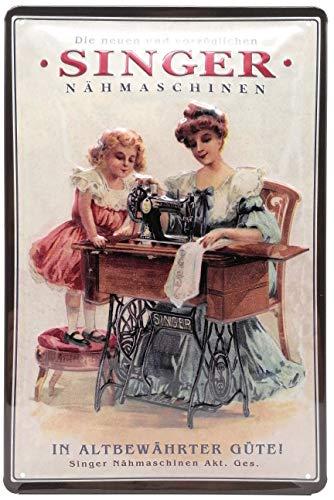 Mehr Relief-Schilder hier... Singer Nähmaschine Retro Werbung Blechschild Küche Reklame-Marke-Schild-Magnet-Metallschild-Werbeschild-Wandschild