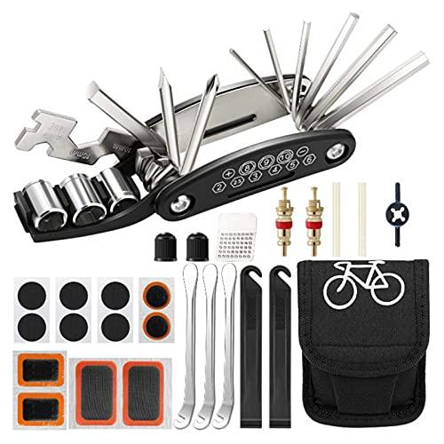 RoxNvm Kit de reparación de bicicletas, 16 en 1 Herramienta Multifunción para Bicicleta, Kit de Herramientas para Bicicleta, Multiherramienta para bicicleta con parche y palancas para neumáticos