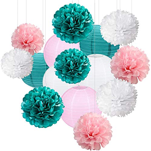 15pcs Hanging Tissue Paper Honeycomb Ball Pom Poms Flowers Paper Lanterns For Teal Party Supplies Bridal Baby Shower First Birthday Party Wedding Decorations
