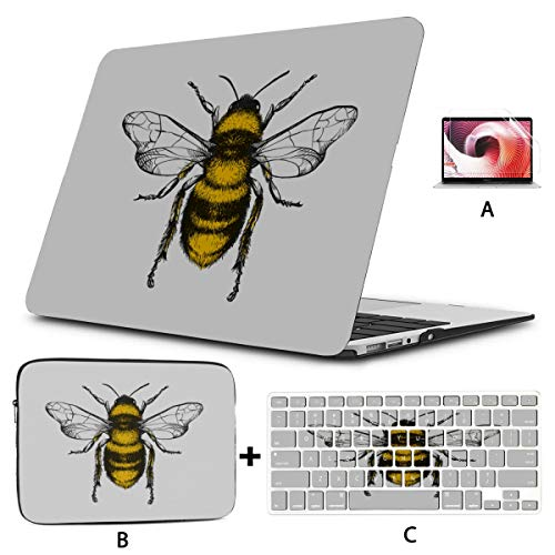 11 MacBook Air Case Engraving Honey Bee On Mac Pro Case Hard Shell Mac Air 11'/13' Pro 13'/15'/16' with Notebook Sleeve Bag for MacBook 2008-2020 Version