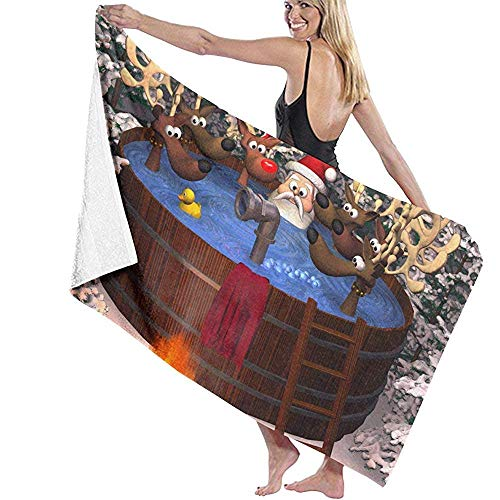 Olie Cam 3D Cartoon Illustration Depicting Santa Claus and Several Reindeer in A Outdoor Hot Tub Beach Towel