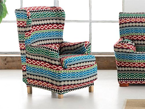 Lanovenanube Eysa - Funda sillón Kilim Orejero 1 Plaza Color Azul C03