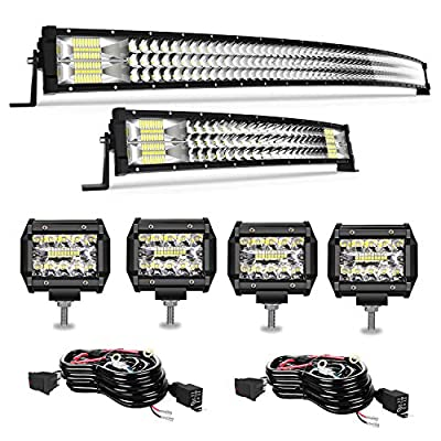 TURBO SII Curved LED Light Bar 52'' inch 711W + 22'' inch 306W + 4pcs 4'' 60W LED Pods Fog Lights Tri-Row Offroad Lighting Lamps + 2Pcs Rocker Switch Wiring Harness Kit For Truck SUV ATV