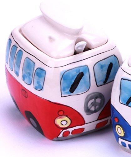 Camper Bus Zuckerdose / Zucker Pott aus Keramik, Farbe wählbar Rot Blau Grün Orange (Rot)