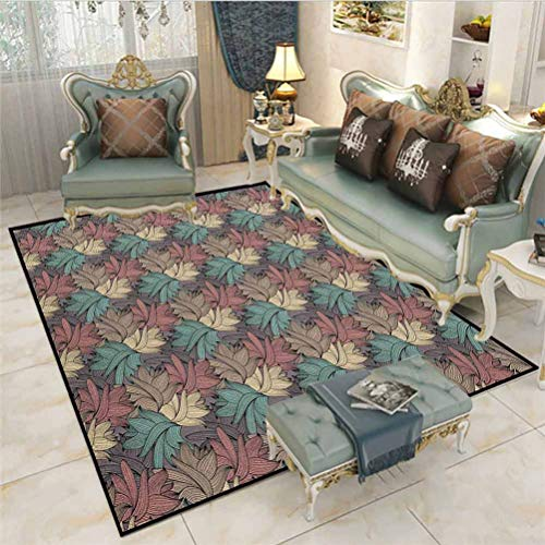 Floral Rugs for Bedroom Kitchen Rugs and mats Colorful Foliage Leaves with Autumnal Nature Theme Abstract Changing of The Seasons Carpet Squares for Classroom Multicolor 5 x 6 Ft