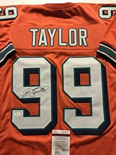 Autographed/Signed Jason Taylor Miami Orange Football Jersey JSA COA
