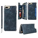 Copmob Funda iPhone 6 Plus/6S Plus/7 Plus/8 Plus,Cuero PU Flip Billetera Funda,[4 Ranura][Hebilla magnética][Función de Soporte],Carcasa Cover Case para iPhone 6 Plus/6S Plus/7 Plus/8 Plus - Azul