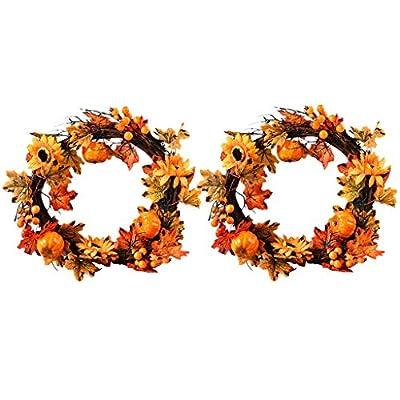 QIANSKY 2PC Fall Wreath for Maple Leaf Berry Ar...