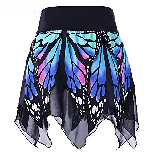 Lazzboy Frauen-Schmetterlings-Art- und Weisemädchen-reizvolle hohe Taillen-Uniform faltete Rock(L,Blau)
