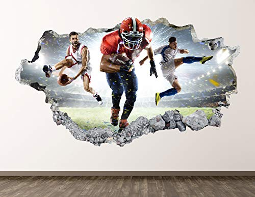 Soccer Players Stadium Wall Decal Art Decor 3D Smashed Sports Sticker Poster Kids Room Mural Custom Gift BL1773 (70'W x 40'H)