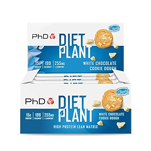 PhD Nutrition Diet Plant Protein bars- White Choc Cookie Dough (Box of 12 Bars)