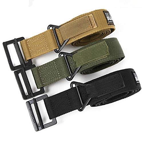 Trihedral Outdoor tactique de ceinture de sauvetage de combat militaire de ceinture gréeur Duty Ceinture en nylon extérieur Ceintures Molle bataille lombaire (Color : Army Green, Size : 128cm)
