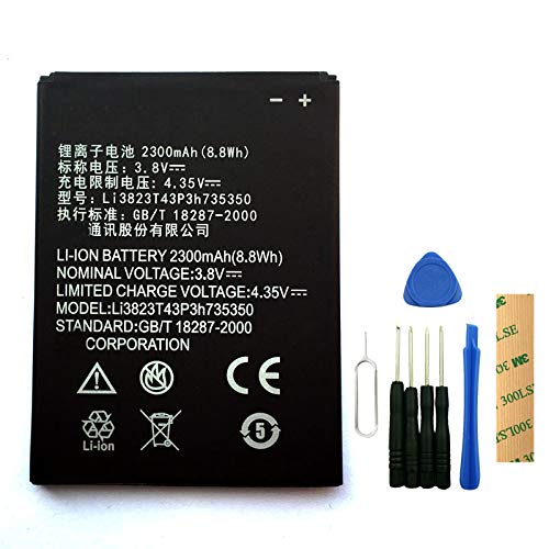 for Simple Mobile/Tracphone ZTE Midnight Pro Z828TL Replacement Battery Li3823T43P3h735350 with Tools Adhesive