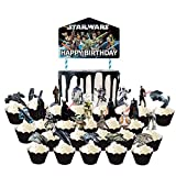 25PCS Star Wars Cupcake Toppers for Happy Birthday Star Wars Theme Party Cake