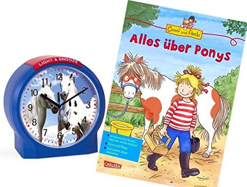 Atlanta Kinderwecker Ohne Ticken Pferde mit Lernbuch Conni Buch Alles über Ponys - 1189/5 BU