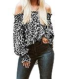 ZANZEA Damen Schulterfrei Langarmshirt Lose Rückenfrei T-Shirts Leopard Tops Oberteile Leopard Grau Large