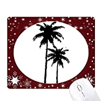 椰子の木のシルエットのプラント・ビーチ オフィス用雪ゴムマウスパッド