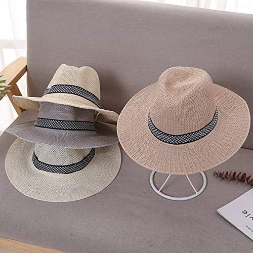 XIAMAZ Elegante Retro Strohhut Männer Handsome Stroh Visier Weibliche Mode Sommer Strand Visier Cool Jazz Klassischer Hut Breitkrempiger Hut