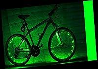 YYGIFT自転車ホイールライト 自転車タイヤ ライト 防水 LEDホイールライト 20LEDフラッシュライト サイクリング 夜道安全 事故防止 学生 通勤 通学 (グリーン)