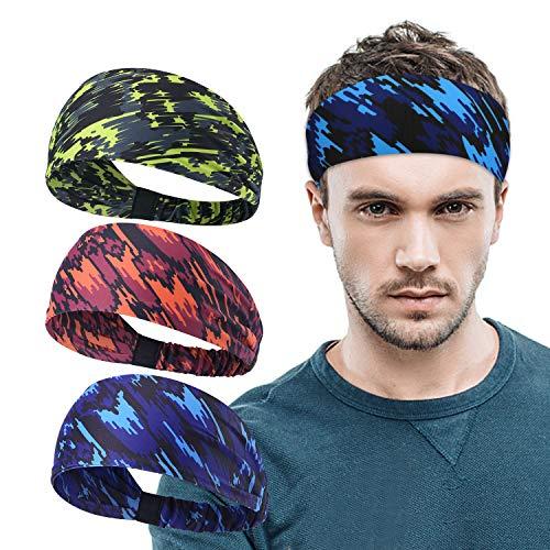 AYPOW Sport Stirnband, 3 Stück Druck Laufendes Stirnband Elastisch Athletisch Haarband rutschfeste Feuchtigkeit Wicking Haarband Work-Out Kopf Wickeln Yoga Fitness...