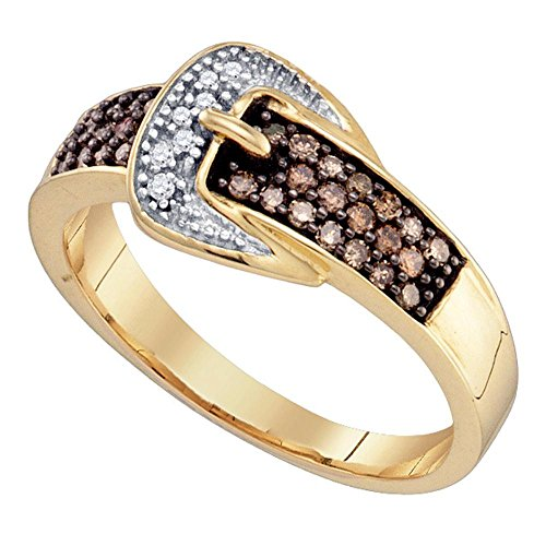 Sonia Jewels Size 7-10K Yellow Gold Chocolate Brown & White Round Diamond Belt Buckle Fashion Ring - Channel Setting (.28 cttw.)