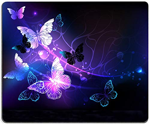 Gaming Mouse Pad,Glowing Night Butterflies Mouse Pad Non-Slip Rubber Base Mouse Pads for Computers Laptop Office, 9.5'x7.9'x0.12' Inch( 240mm x 200mm x 3mm)