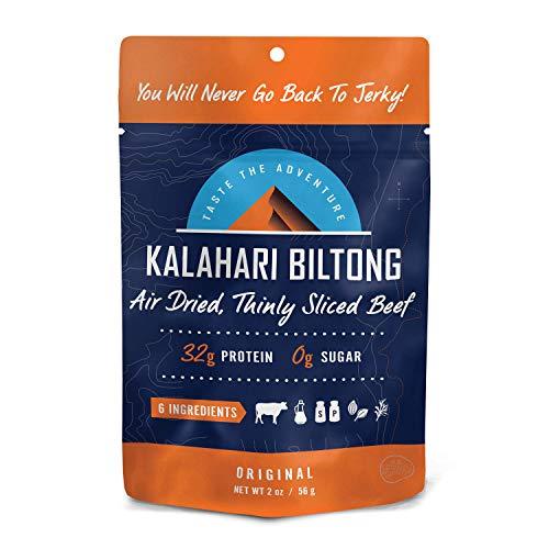 Original Kalahari Biltong, Air-Dried Thinly Sliced Beef, 2oz (Pack of 1), Sugar Free, Gluten Free, Keto & Paleo, High Protein Snack