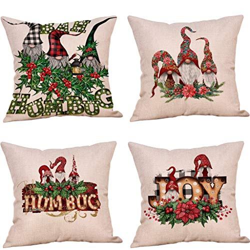 HINK 4PC Christmas Ornaments Faceless Doll Pillow Covers Santa Claus Pillowcase, Xmas Cotton And Linen Pillowcase, Multicolor