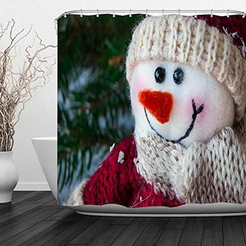 QiyI Weihnachtlicher Schneemann-Duschvorhang mit Haken, Badezimmervorhänge, maschinenwaschbar, Festival, Heimdekoration, bedruckte Badevorhänge 152,4 cm B x 182,9 cm L – Schneemann-Puppe