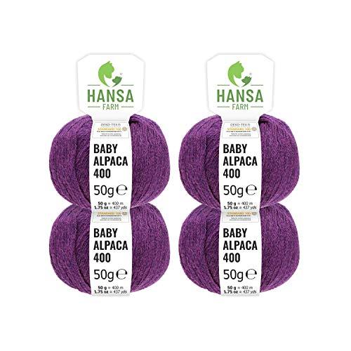 100% Baby Alpakawolle in 50+ Farben (kratzfrei) - 200g Set (4 x 50g) - weiche Alpaka Wolle zum Stricken & Häkeln in 6 Garnstärken by Hansa-Farm - Lila Heather