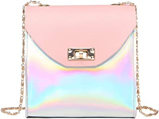 Women's Girls Holographic Laser Crossbody Bag Shoulder Bag PU Leather Fahsion Girls Mini Cellphone Bags Purse