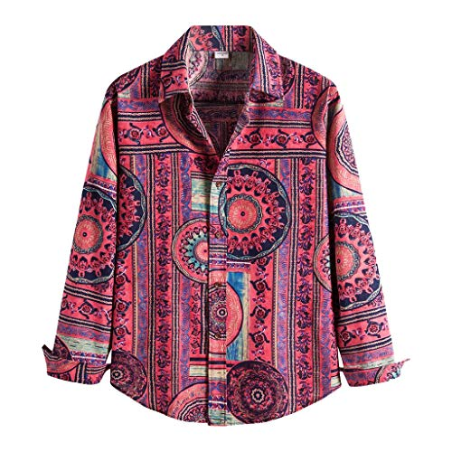 camicia donna hawaiana manica lunga Camicetta Camicia Uomo Moda Lino Etnico Manica Lunga Stampa Casual Hawaiana (L