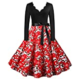 Women's Long Sleeve 1950s Retro Vintage Cocktail Swing Dresses Vintage Tea Dress Prom Swing Cocktail Party Dress (M,7Red)