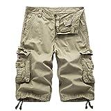 AYG Pantalón Corto Deportivo Cargo Shorts(khaki,34)