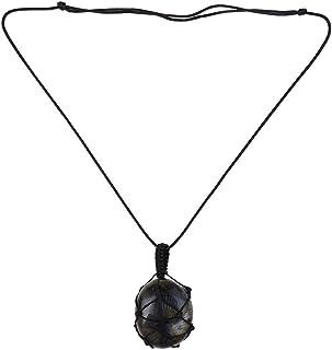 Festnight Labradorite Natural Stone Necklace Pendant Wrap Braid Leather Cord Energy Necklace