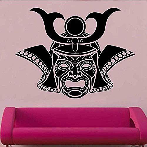 Wandaufkleber Kendo Aufkleber Maske Samurai Aufkleber Japan Ninja Poster Vinyl Kunst Wandtattoos Dekor Wandbild 75X58Cm