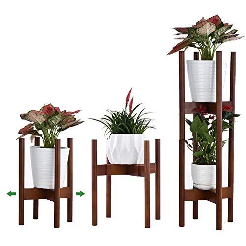 Reservilla Mid Century Wood Soporte ajustable para plantas, moderno soporte para macetas, para interiores y exteriores, 21-30 cm, Brown de 2 unidades.