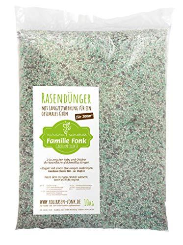 Rasendünger 10kg für 200m² | vom Rollrasen-Produzenten Fonk | Langzeitwirkung für einen dichten & grünen Rasen