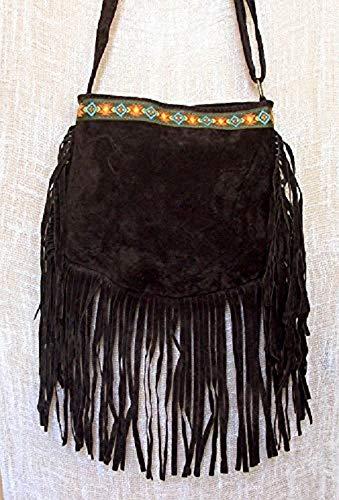 Bolso con flecos boho chic hippie de ante marrón