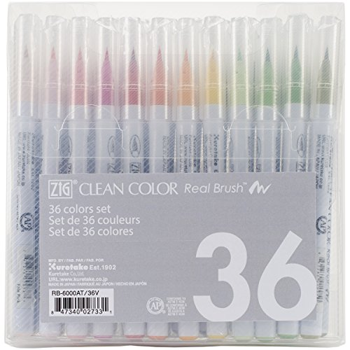 Zig Clean Color Real Brush Markers (36 Per Package)
