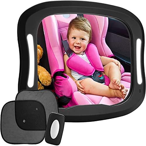 LED Rücksitzspiegel für Babys FITNATE 20 x 29 cm großer Baby Autospiegel für Kindersitz 360° schwenkbar
