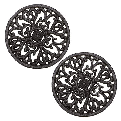 """Sumnacon 6.7"""" Cast Iron Trivet, Decorative Round Trivet Mat Hot Pot Holder Pads with Vintage Pattern and Rubber Pegs/Feet for Rustic Kitchen Counter Or Dining Table (2 Pcs)"""