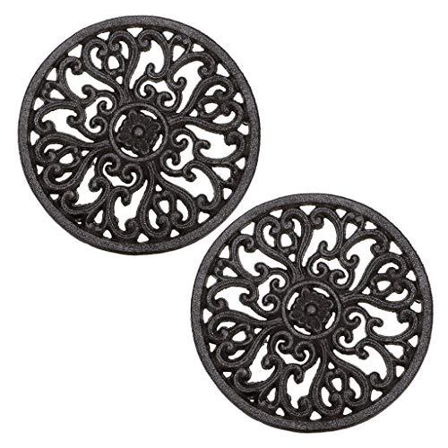 Sumnacon 2pcs Cast Iron Trivet Decorative Round Trivet Mat Hot Pot Holder Pads with Vintage Pattern